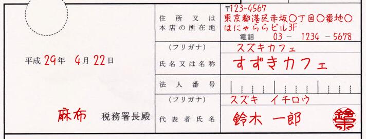 源泉所得の納期の特例の承認に関する申請書の書き方1